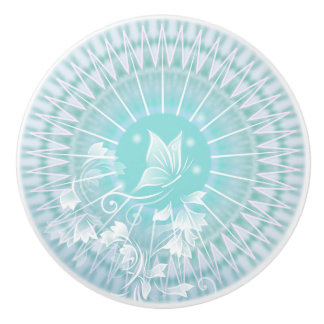 Floral Mandala Butterfly Turquoise Ceramic Knob