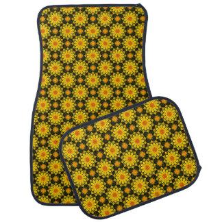 Floral mandala, Californian poppies Floor Mat