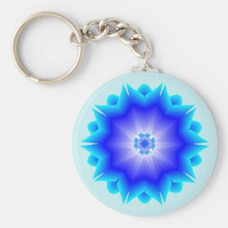 Floral Mandala light and dark blue theme Key Ring
