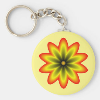 Floral Mandala light and dark yellow and orange Basic Round Button Key Ring