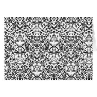 Floral Mandala Pattern Geometric Adult Coloring Card