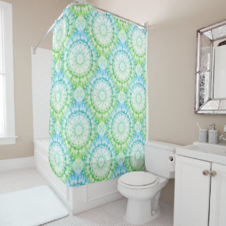 Floral mandala-style, blossoms blue/green shower curtain