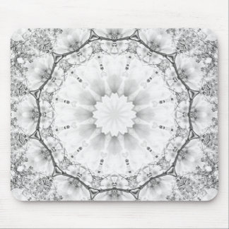 Floral mandala-style, blossoms light gray / grey mouse pad