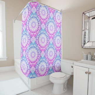 Floral mandala-style, blossoms shower curtain