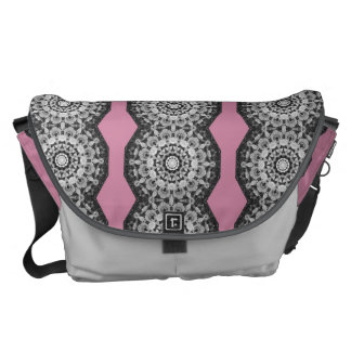 Floral mandala-style, Tulips Black, white and gray Commuter Bag