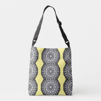 Floral mandala-style, Tulips Black, white and gray Crossbody Bag