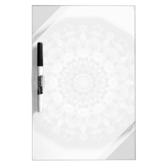 Floral mandala-style, Tulips Black, white and gray Dry Erase Whiteboard