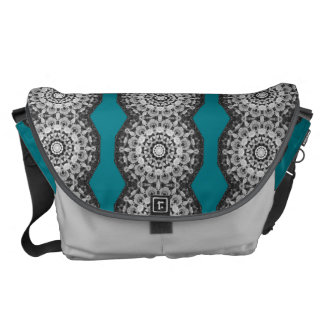 Floral mandala-style, Tulips Black, white and gray Messenger Bag