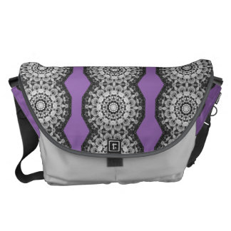 Floral mandala-style, Tulips Black, white and gray Messenger Bags