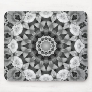Floral mandala-style, Tulips Black, white and gray Mouse Pad