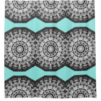 Floral mandala-style, Tulips Black, white and gray Shower Curtain