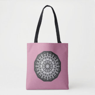 Floral mandala-style, Tulips Black, white and gray Tote Bag