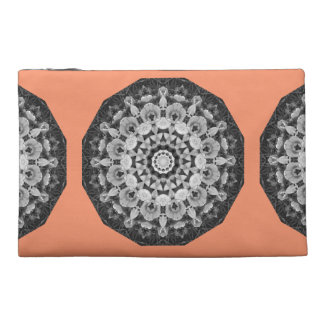 Floral mandala-style, Tulips Black, white and gray Travel Accessories Bag
