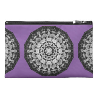 Floral mandala-style, Tulips Black, white and gray Travel Accessory Bags