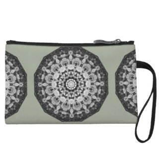 Floral mandala-style, Tulips Black, white and gray Wristlet Purse