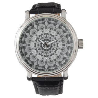 Floral mandala-style, Tulips Black, white and gray Wristwatch