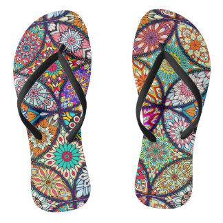 Floral mandalas creative circles art pattern flip flops
