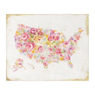 Floral Map Of The USA Acrylic Wall Art