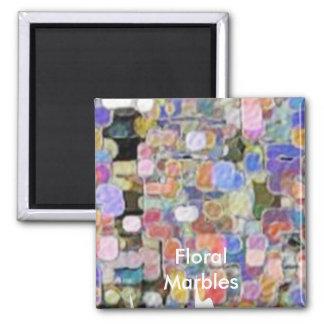 Floral Marbles Marvellous Square Magnet