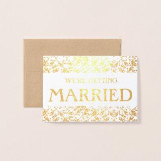 Floral marriage announcement Gold Foil Card