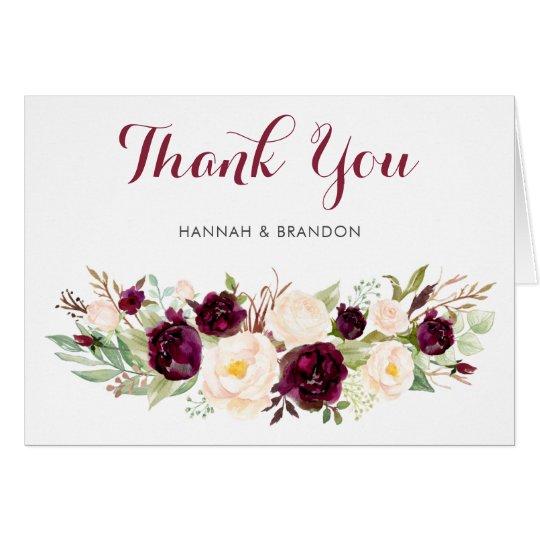 Floral Marsala Sage Burgundy Thank You Card