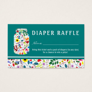 Floral Mason Jar Baby Shower Diaper Raffle Ticket