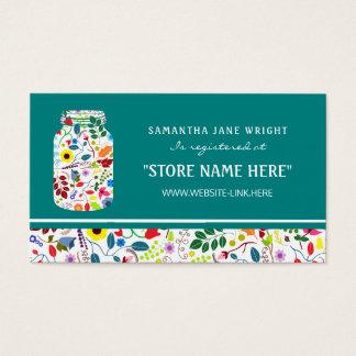 Floral Mason Jar Baby Shower Gift Registry Business Card