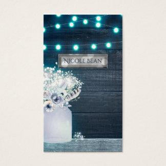 Floral Mason Jar & Blue Lights Rustic Wedding Business Card