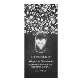 floral mason jar chalkboard wedding programs rack card