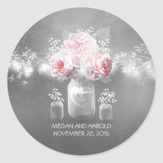 Floral Mason Jar Grey Pink Wedding Classic Round Sticker