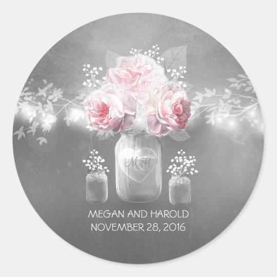 Floral Mason Jar Grey Pink Wedding Classic Round