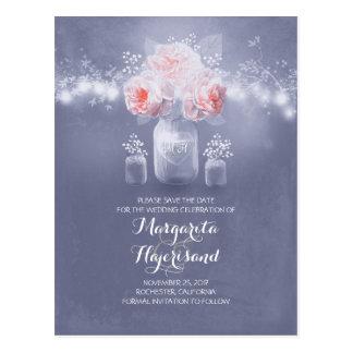 Floral mason jar lights rustic save the date postcard
