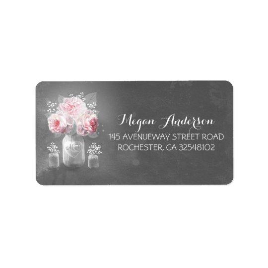 Floral Mason Jar Rustic Chalkboard Wedding Address Label