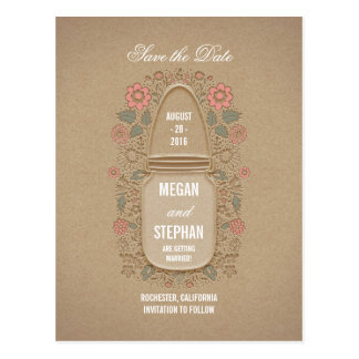 floral mason jar rustic save the date postcard