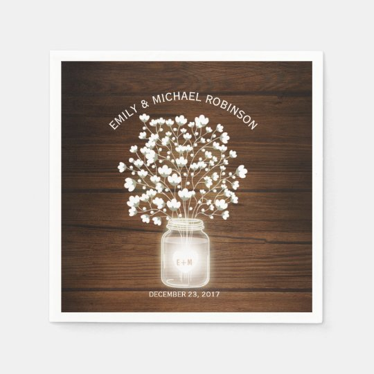 Floral mason jar rustic wedding paper serviettes