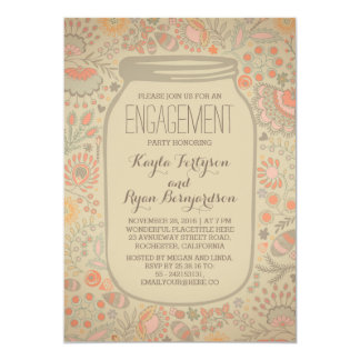 Floral Mason Jar Vintage Rustic Engagement Party 13 Cm X 18 Cm Invitation Card