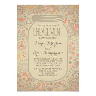 Floral Mason Jar Vintage Rustic Engagement Party 13 Cm X 18 Cm Invitation Card