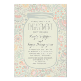 Floral Mason Jar Whimsical Rustic Engagement Party 13 Cm X 18 Cm Invitation Card