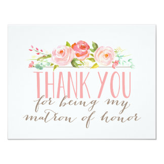 Floral Matron Of Honor Thank You Card