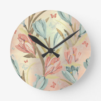 Floral Meadow Iris Pearly Blue Ivory Brown Round Clock