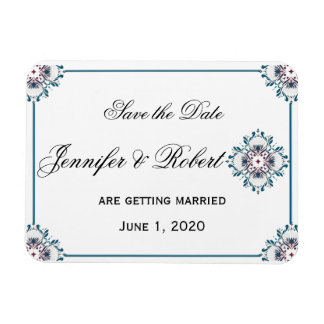 Floral Medallion in Teal and Rose Save the Date Rectangular Photo Magnet