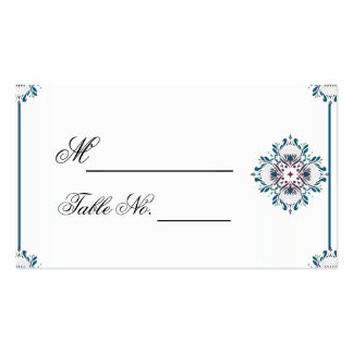 Floral Medallion Teal and Rose Wedding PlaceCard Business Card
