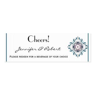 Floral Medallion Teal & Rose Wedding Drink Ticket Business Card Templates