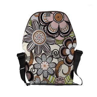 Floral Mehndi Art Design, Brown Tones Courier Bags