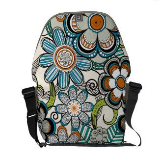 Floral Mehndi Art Design, Brown Tones Messenger Bags