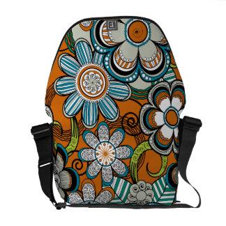 Floral Mehndi Art Design, Orange Tones Courier Bags