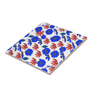 Floral mélange red white blue patriotic pattern small square tile