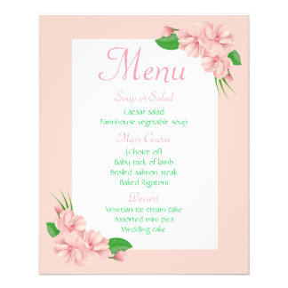 Floral Menu Pink & Green Flowers - Wedding Party 11.5 Cm X 14 Cm Flyer