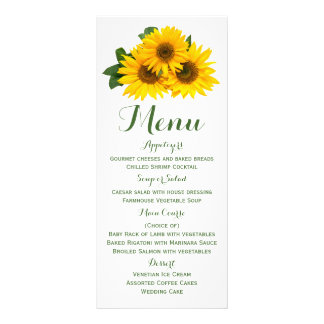 Floral Menu Sunflower Green And Yellow Flowers Rack Card