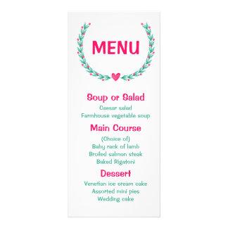 Floral Menu Watercolor Pink & Turquoise Wreath Personalised Rack Card